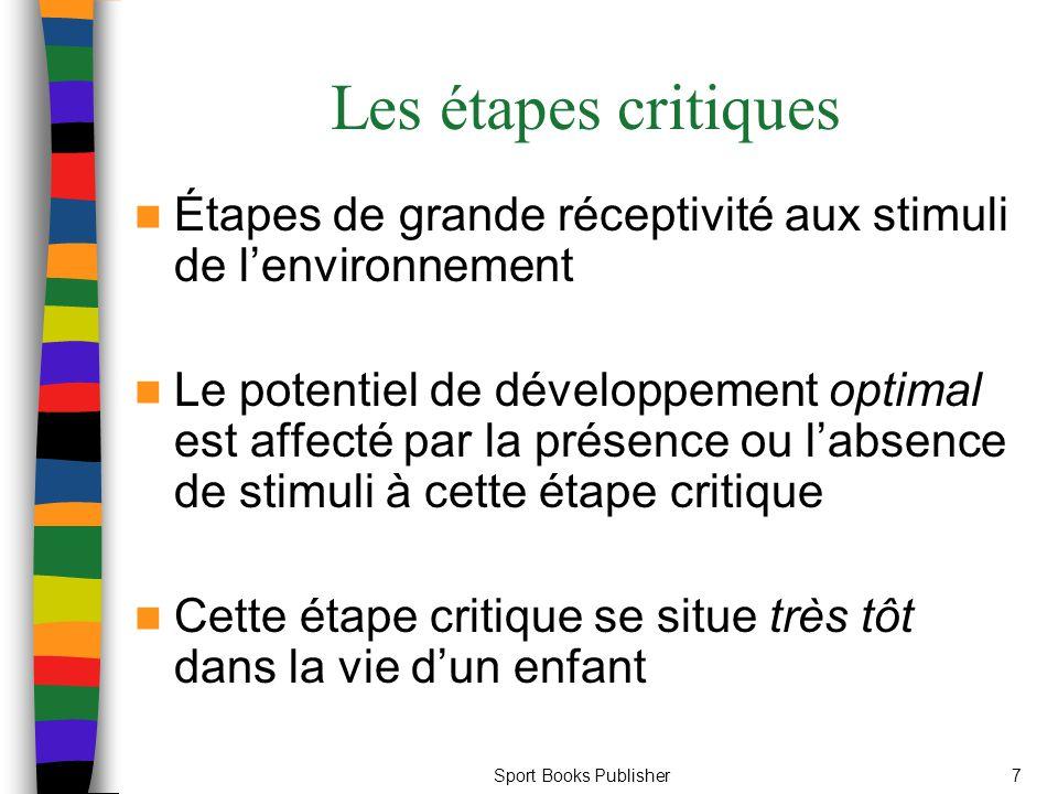 Les étapes critiques Étapes de grande réceptivité aux stimuli de l'environnement.