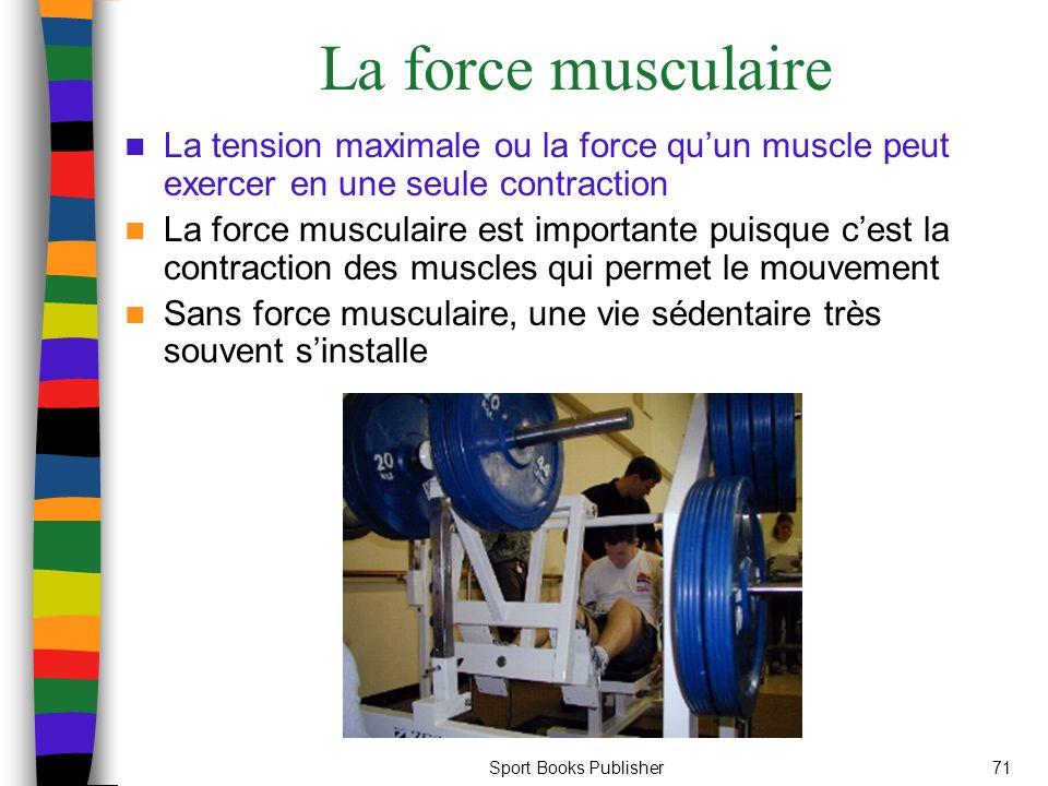 La force musculaire La tension maximale ou la force qu'un muscle peut exercer en une seule contraction.