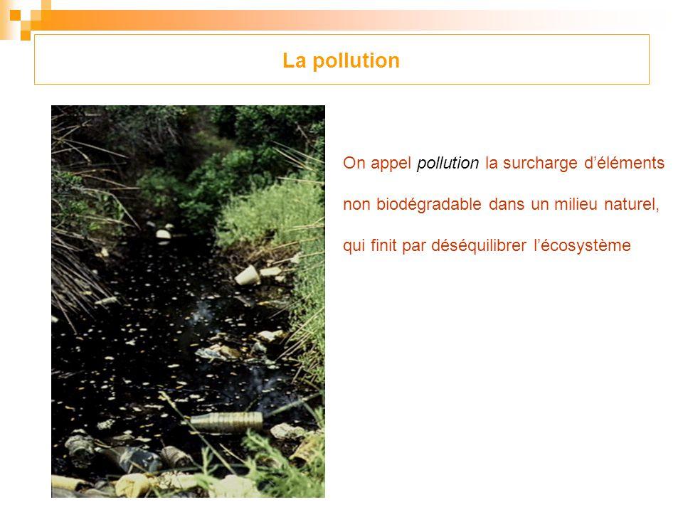La pollution On appel pollution la surcharge d'éléments