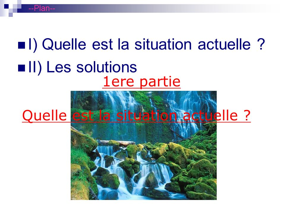 I) Quelle est la situation actuelle II) Les solutions