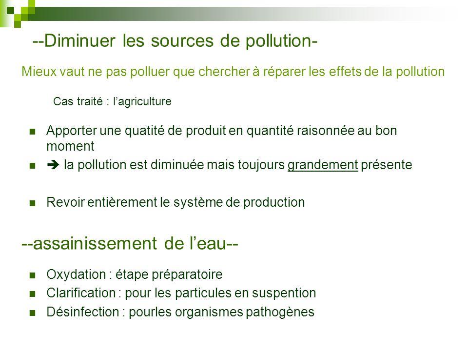 --Diminuer les sources de pollution-