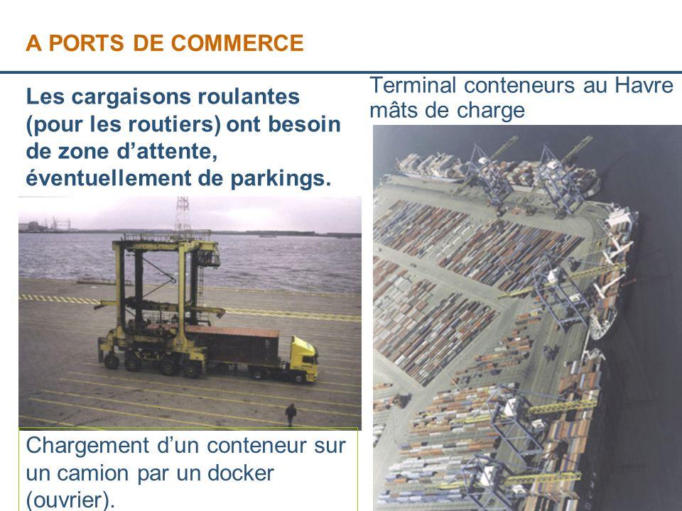 A PORTS DE COMMERCE Terminal conteneurs au Havre et mâts de charge.