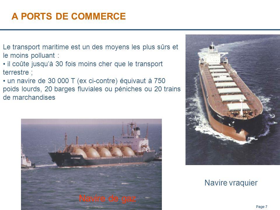 A PORTS DE COMMERCE Navire de gaz Navire vraquier