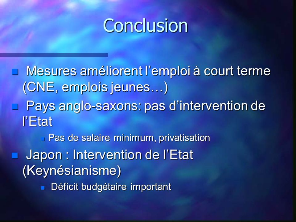 Conclusion Mesures améliorent l'emploi à court terme (CNE, emplois jeunes…) Pays anglo-saxons: pas d'intervention de l'Etat.