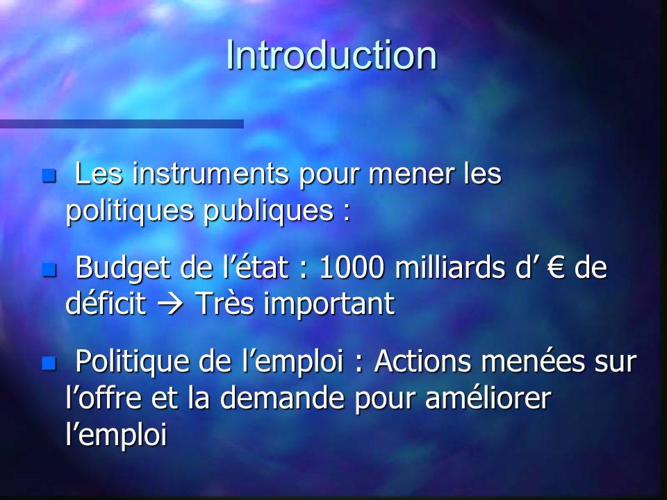 Introduction Les instruments pour mener les politiques publiques : Budget de l'état : 1000 milliards d' € de déficit  Très important.