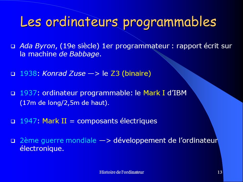 Les ordinateurs programmables