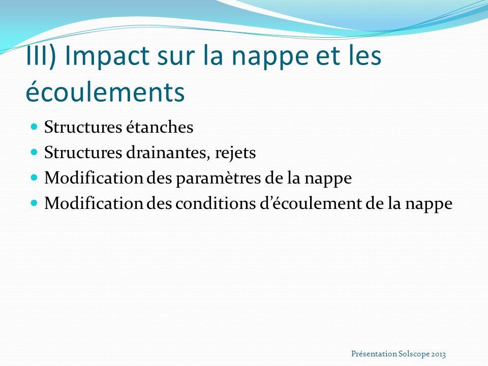 III) Impact sur la nappe et les écoulements