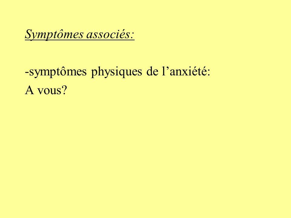 Symptômes associés: -symptômes physiques de l'anxiété: A vous