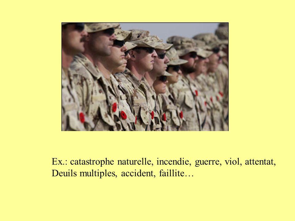 Ex.: catastrophe naturelle, incendie, guerre, viol, attentat,