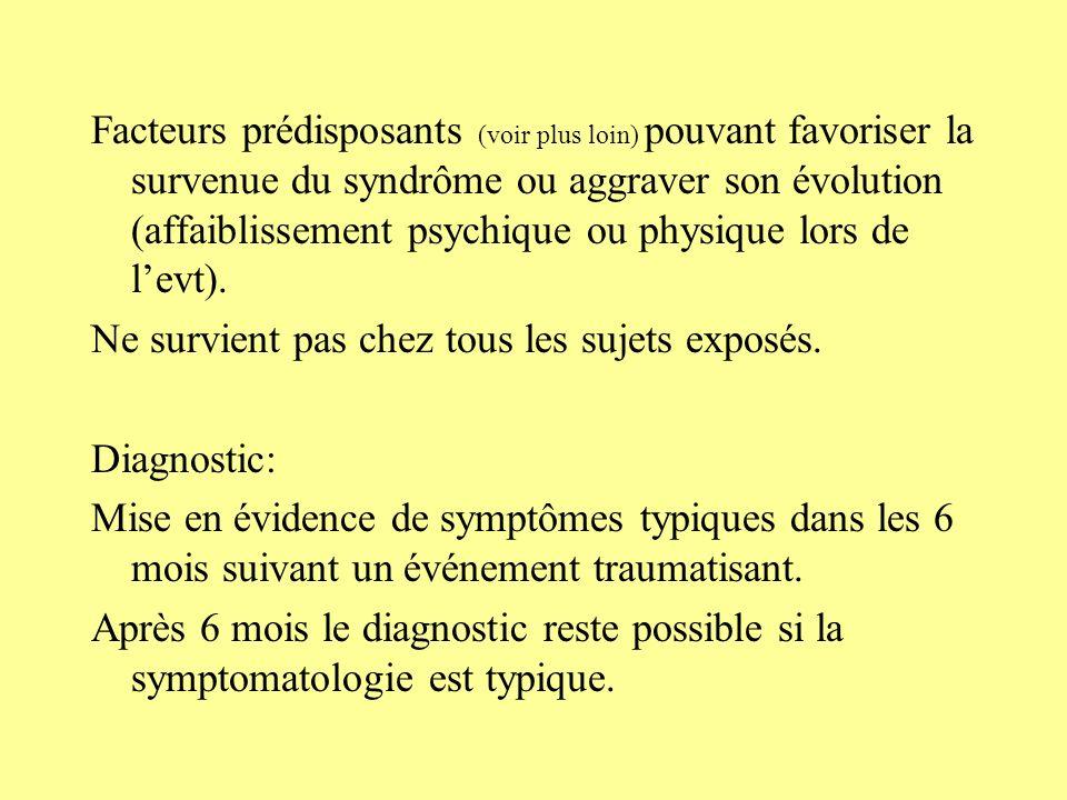 Facteurs prédisposants (voir plus loin) pouvant favoriser la survenue du syndrôme ou aggraver son évolution (affaiblissement psychique ou physique lors de l'evt).