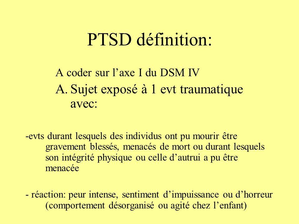 PTSD définition: Sujet exposé à 1 evt traumatique avec: