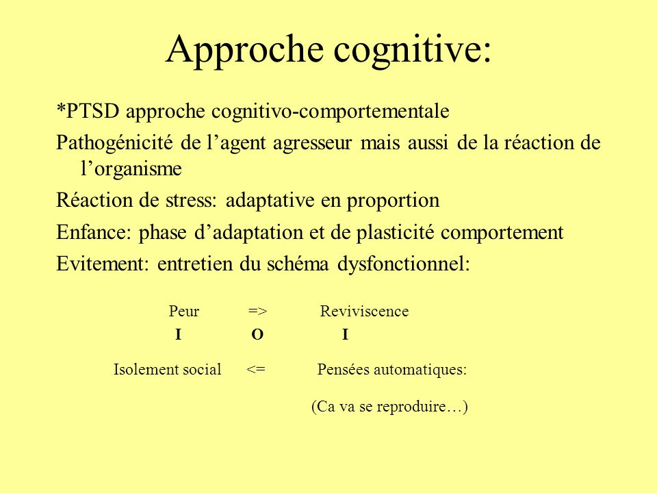 Approche cognitive: Isolement social <= Pensées automatiques: