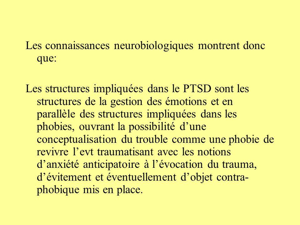 Les connaissances neurobiologiques montrent donc que: