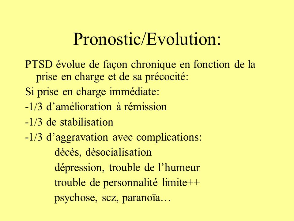 Pronostic/Evolution: