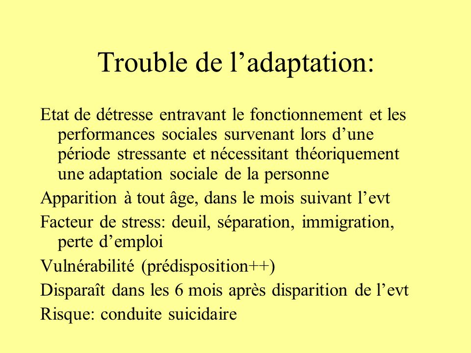 Trouble de l'adaptation: