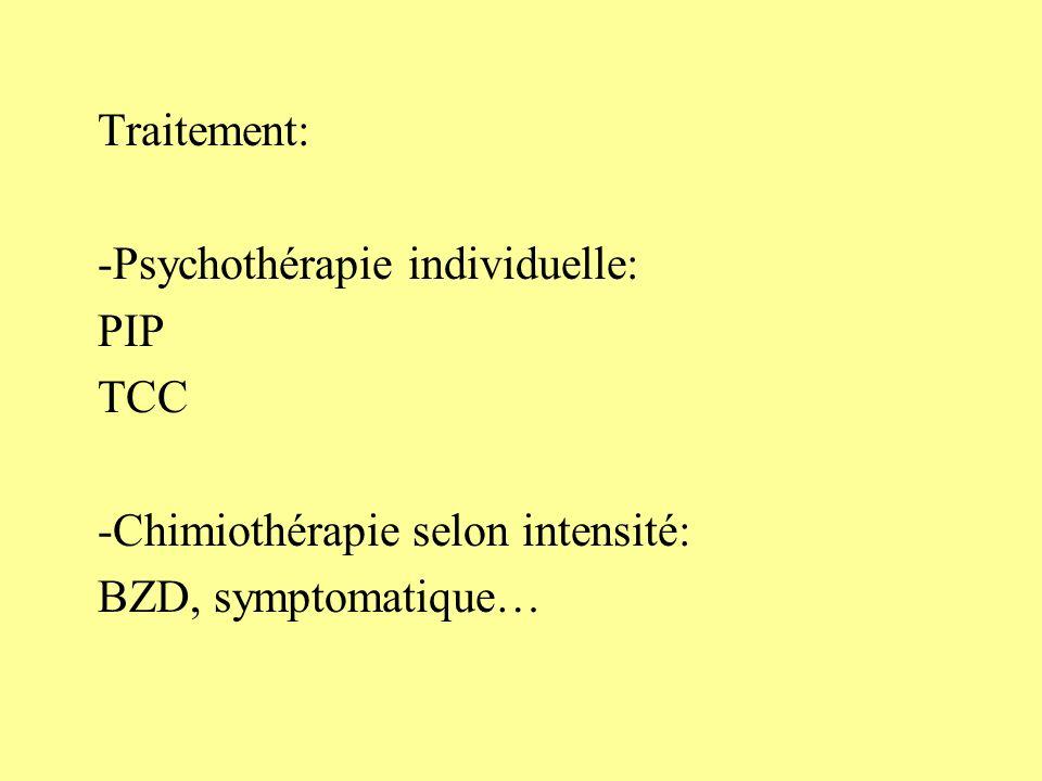 Traitement: -Psychothérapie individuelle: PIP. TCC.
