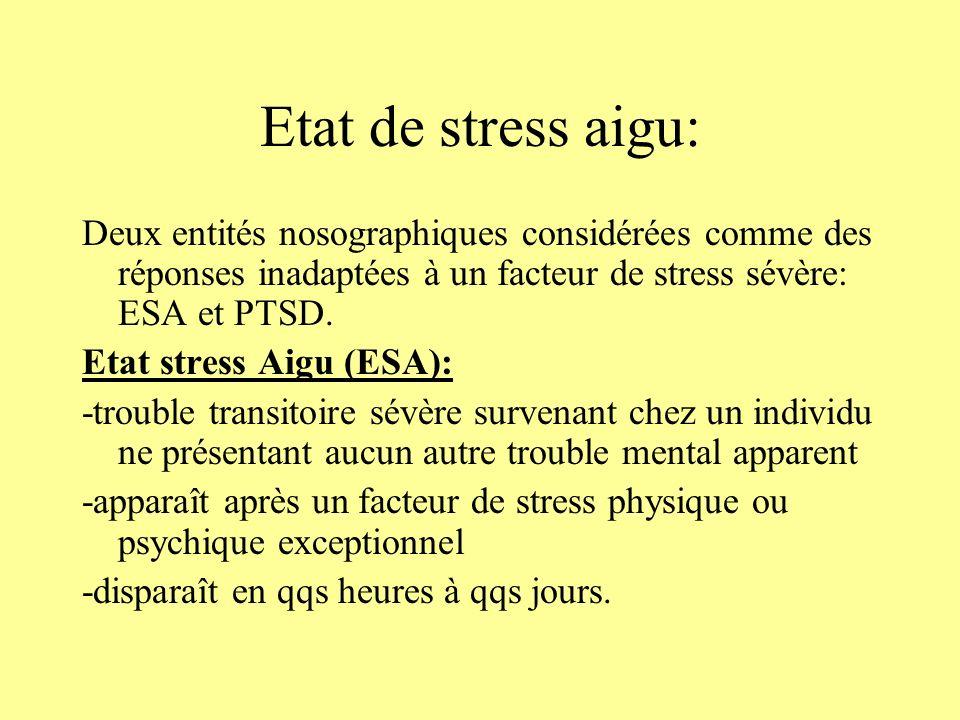 Etat de stress aigu:Deux entités nosographiques considérées comme des réponses inadaptées à un facteur de stress sévère: ESA et PTSD.