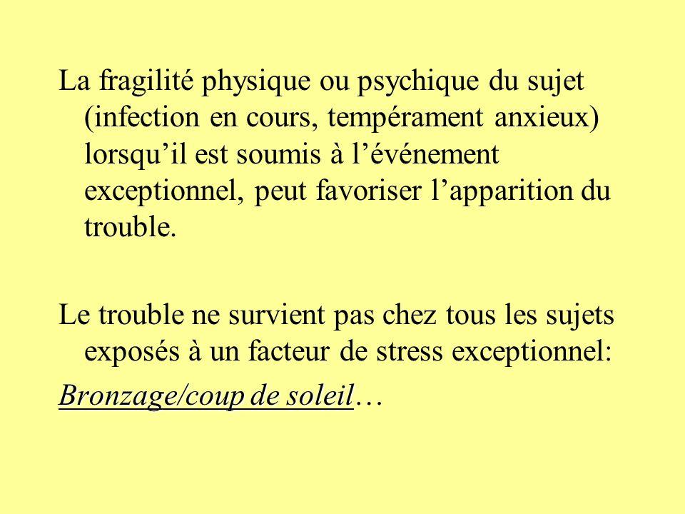 La fragilité physique ou psychique du sujet (infection en cours, tempérament anxieux) lorsqu'il est soumis à l'événement exceptionnel, peut favoriser l'apparition du trouble.