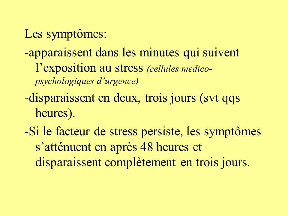 Les symptômes: -apparaissent dans les minutes qui suivent l'exposition au stress (cellules medico-psychologiques d'urgence)