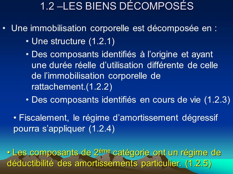 1.2 –LES BIENS DÉCOMPOSÉS Une immobilisation corporelle est décomposée en : Une structure (1.2.1)