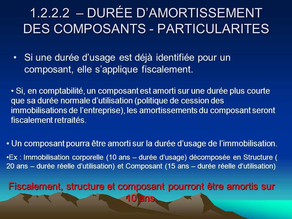 1.2.2.2 – DURÉE D'AMORTISSEMENT DES COMPOSANTS - PARTICULARITES
