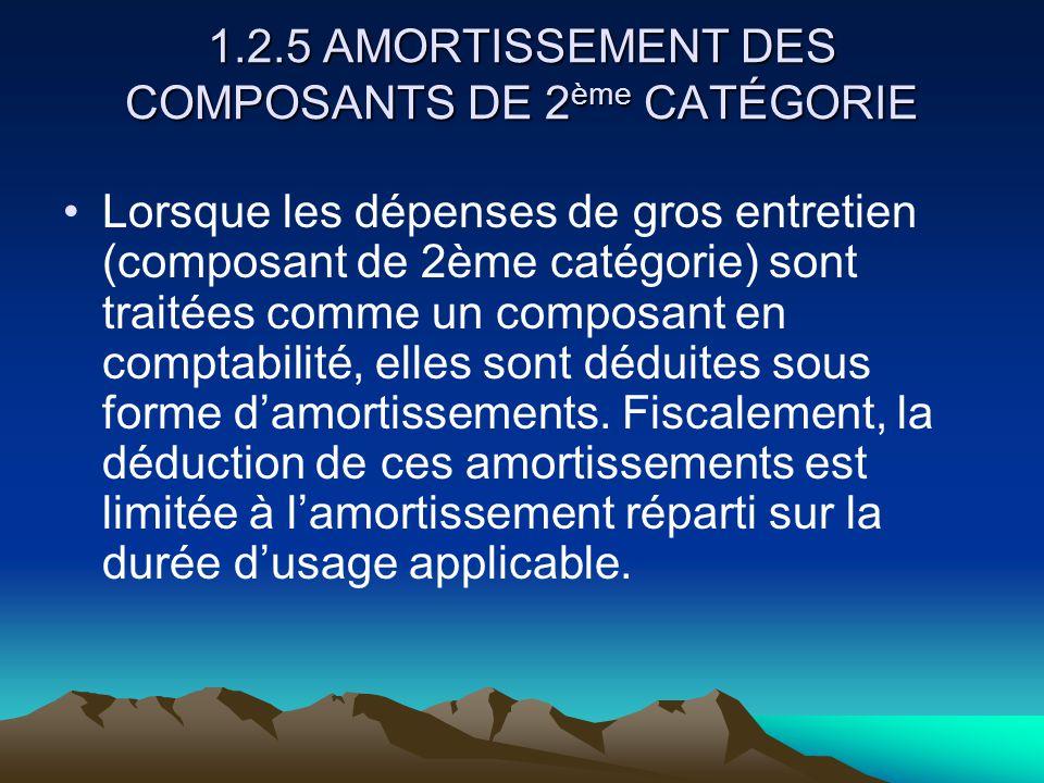 1.2.5 AMORTISSEMENT DES COMPOSANTS DE 2ème CATÉGORIE