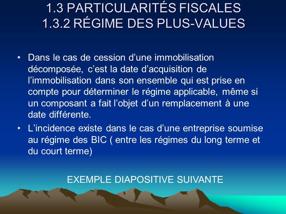 1.3 PARTICULARITÉS FISCALES 1.3.2 RÉGIME DES PLUS-VALUES