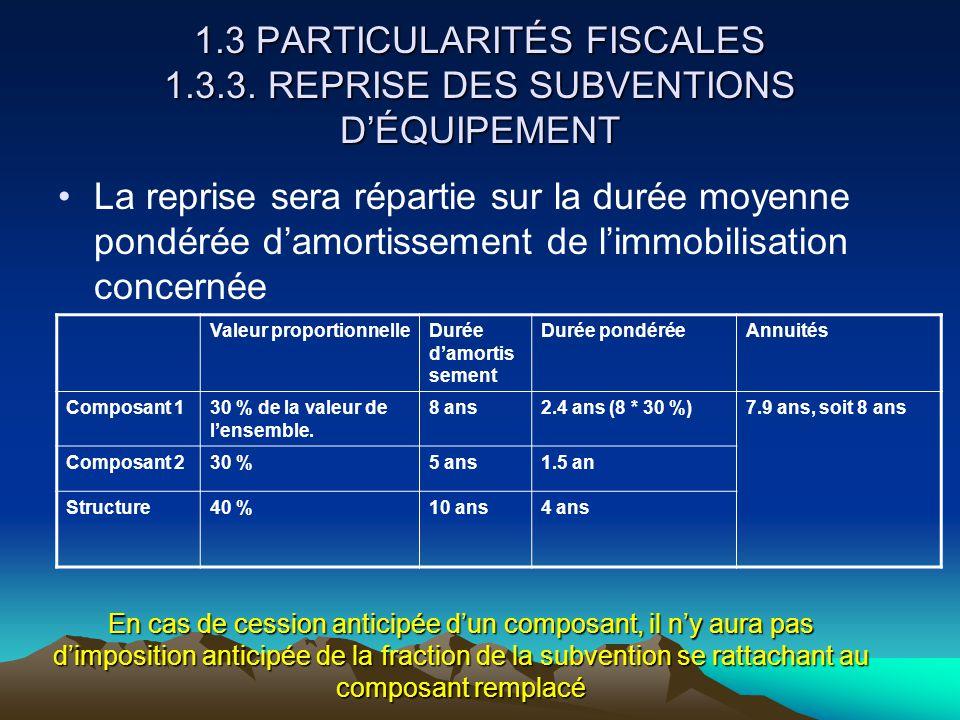 1. 3 PARTICULARITÉS FISCALES 1. 3. 3