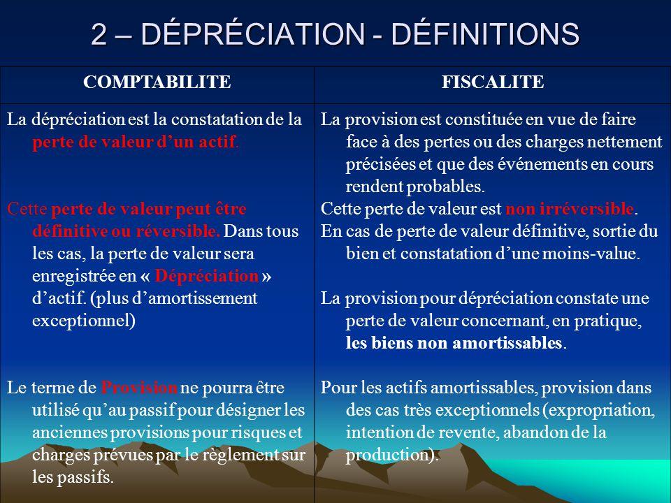 2 – DÉPRÉCIATION - DÉFINITIONS