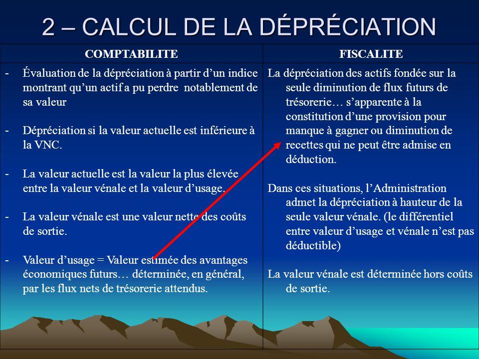 2 – CALCUL DE LA DÉPRÉCIATION