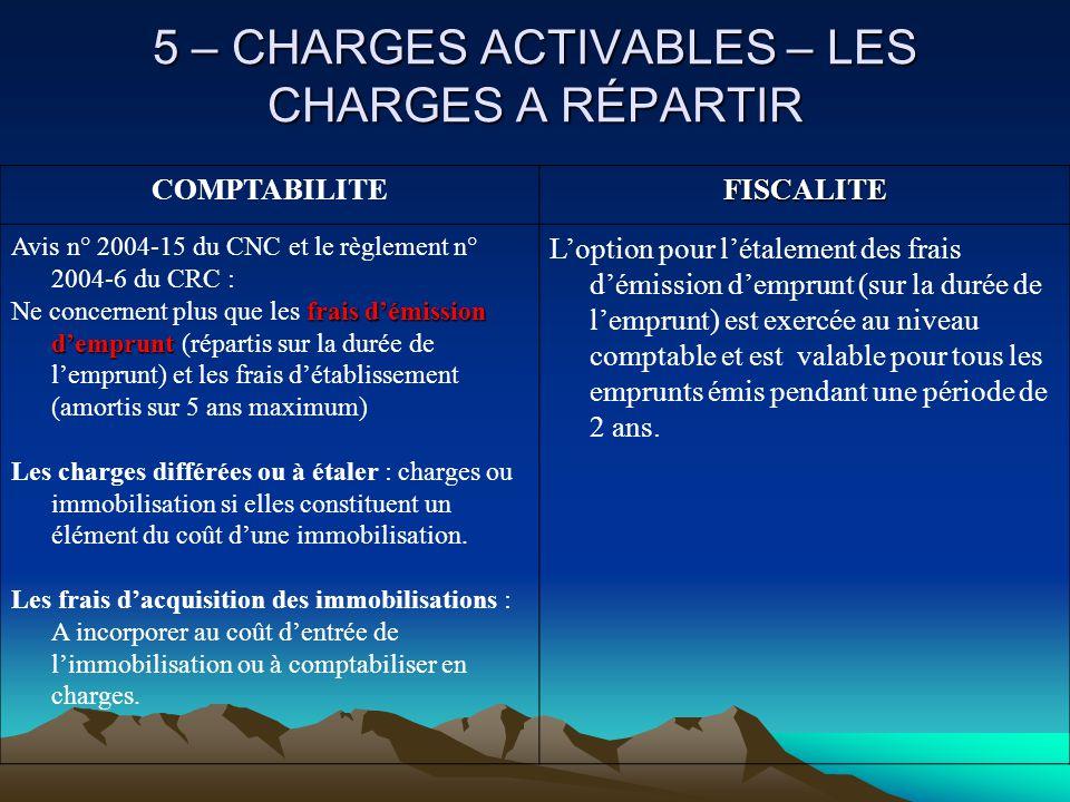5 – CHARGES ACTIVABLES – LES CHARGES A RÉPARTIR