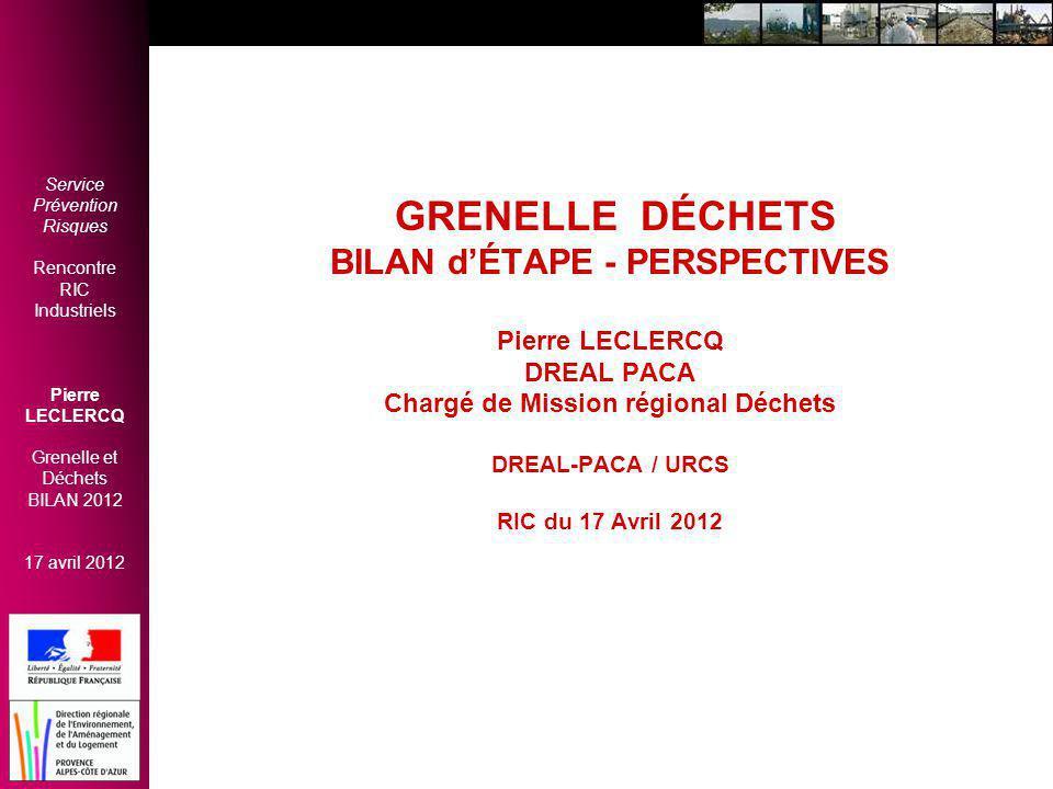 GRENELLE DÉCHETS BILAN d'ÉTAPE - PERSPECTIVES Pierre LECLERCQ DREAL PACA Chargé de Mission régional Déchets DREAL-PACA / URCS RIC du 17 Avril 2012