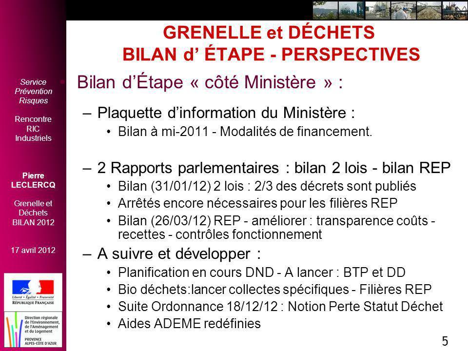 GRENELLE et DÉCHETS BILAN d' ÉTAPE - PERSPECTIVES
