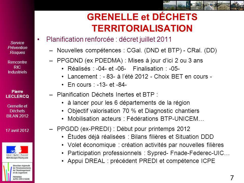 GRENELLE et DÉCHETS TERRITORIALISATION
