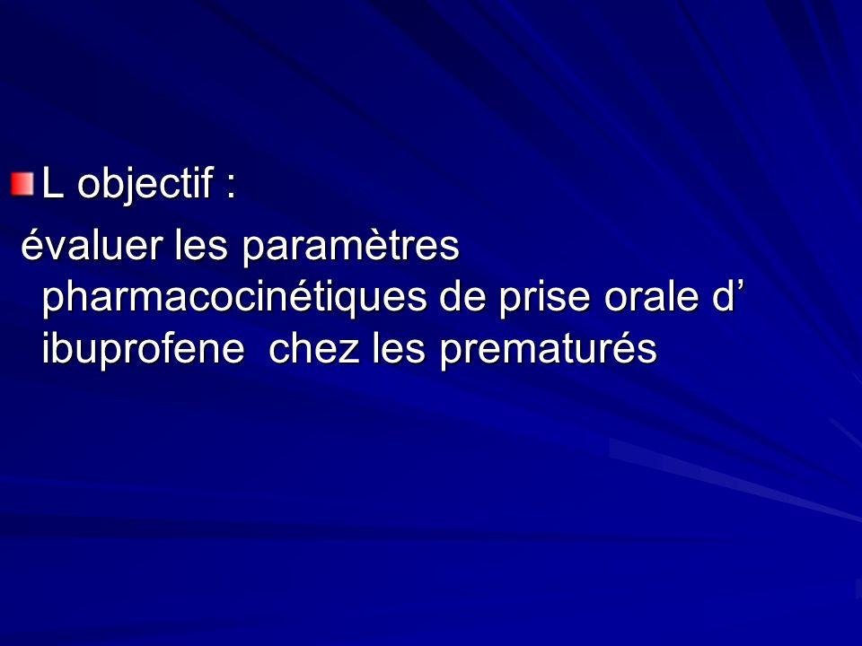 L objectif : évaluer les paramètres pharmacocinétiques de prise orale d' ibuprofene chez les prematurés.