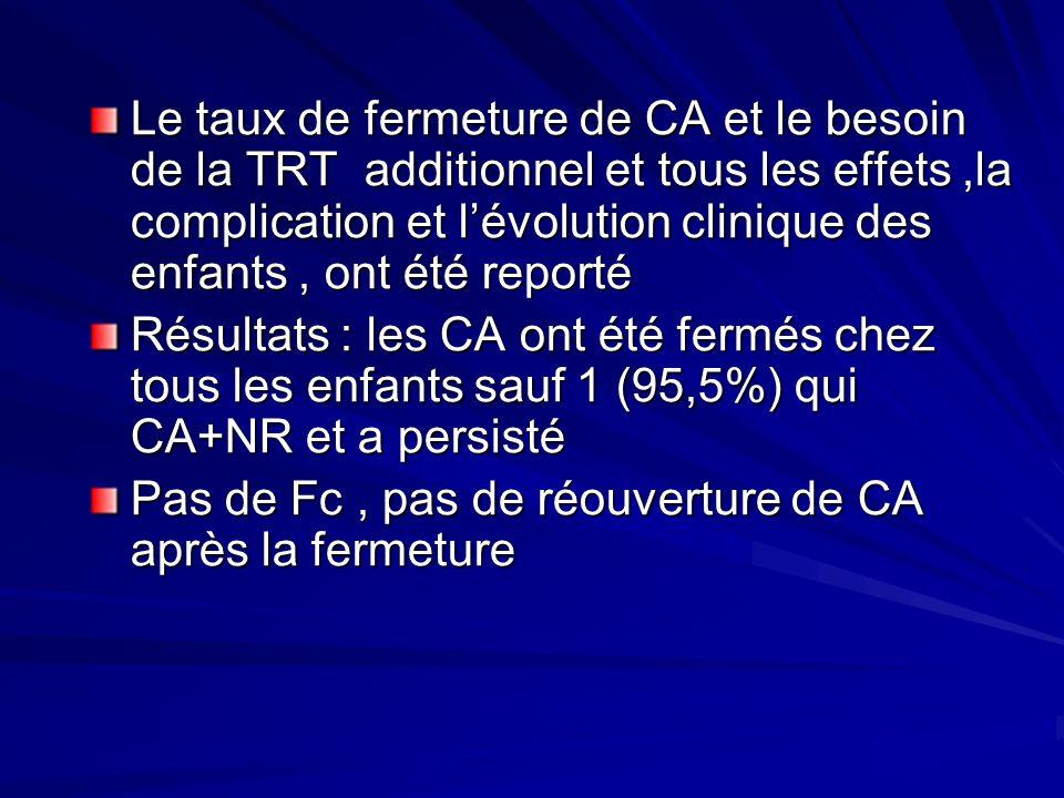 Le taux de fermeture de CA et le besoin de la TRT additionnel et tous les effets ,la complication et l'évolution clinique des enfants , ont été reporté