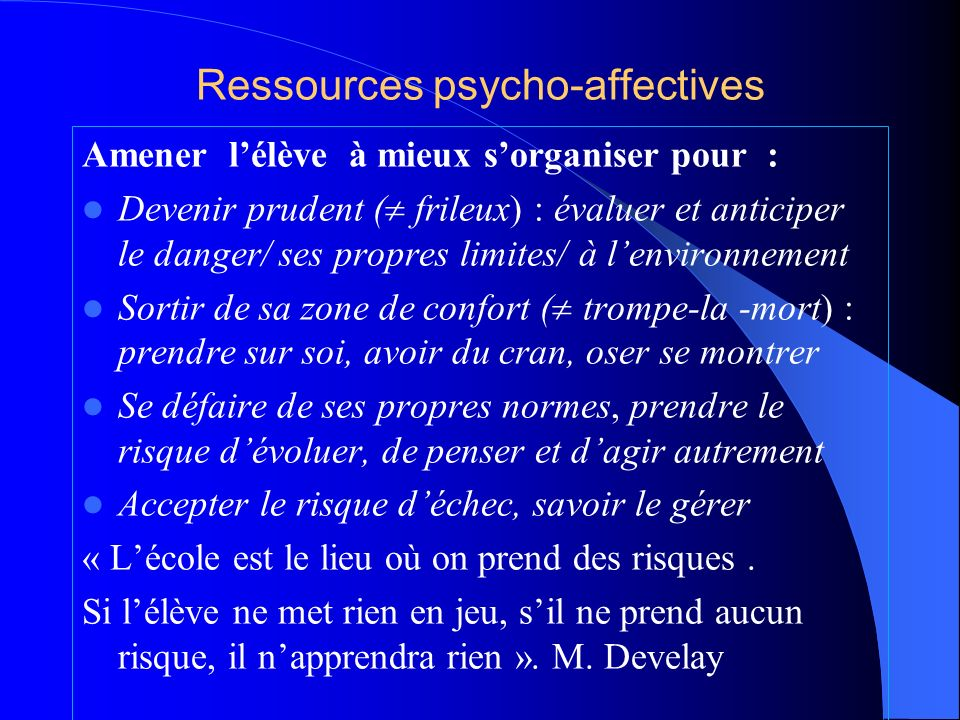Ressources psycho-affectives