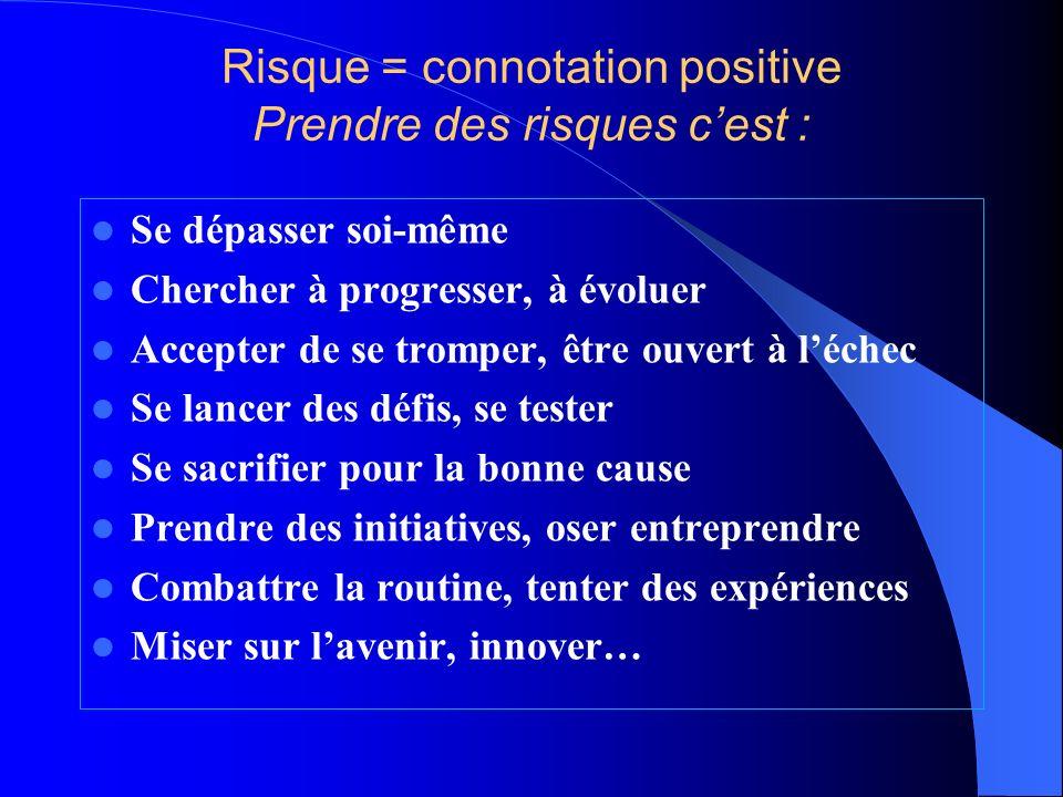 Risque = connotation positive Prendre des risques c'est :