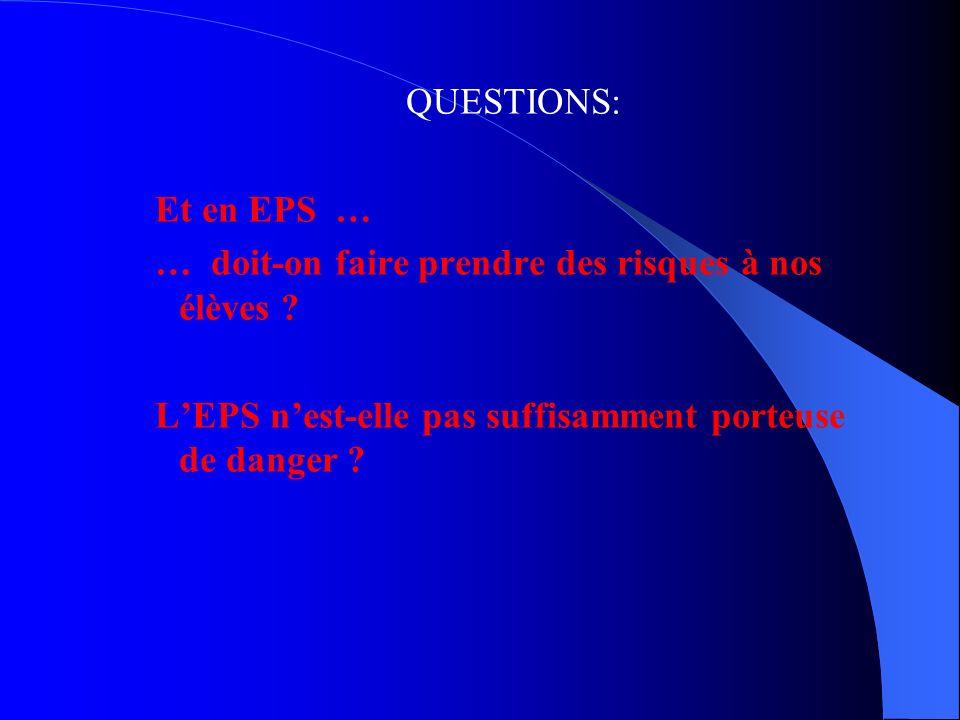 QUESTIONS: Et en EPS … … doit-on faire prendre des risques à nos élèves .