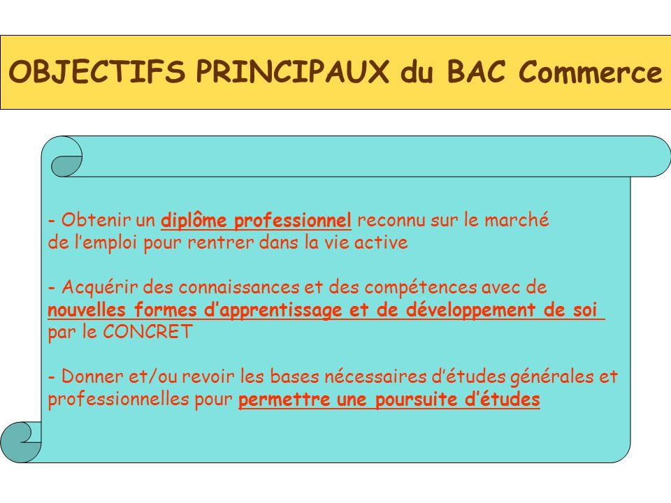 OBJECTIFS PRINCIPAUX du BAC Commerce