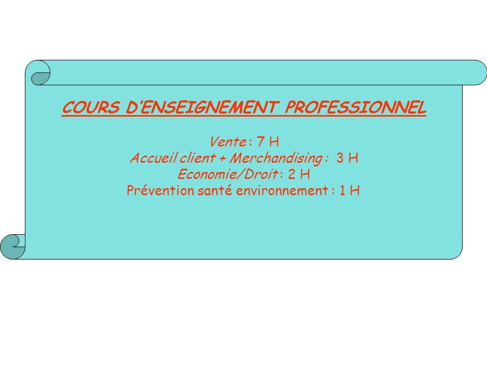 COURS D'ENSEIGNEMENT PROFESSIONNEL