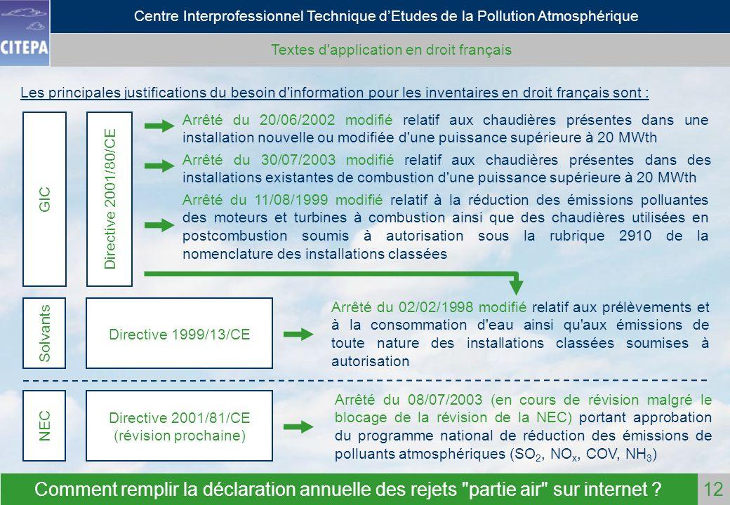 Textes d application en droit français