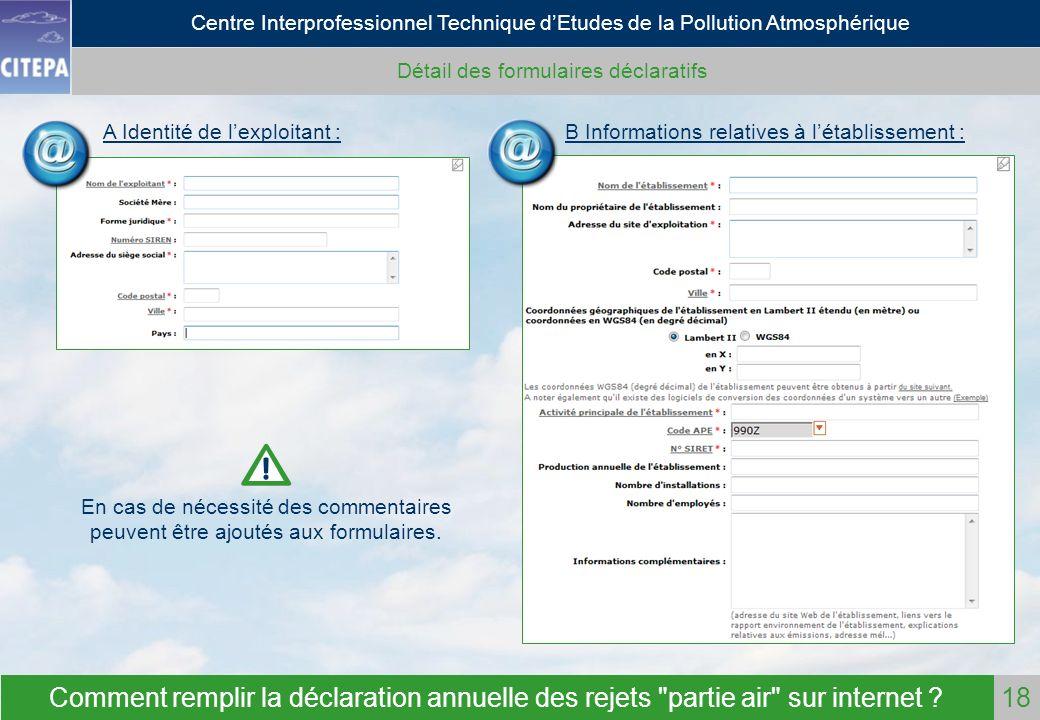 Détail des formulaires déclaratifs