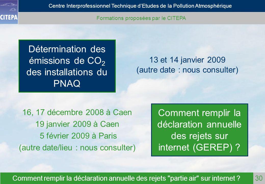 Détermination des émissions de CO2 des installations du PNAQ