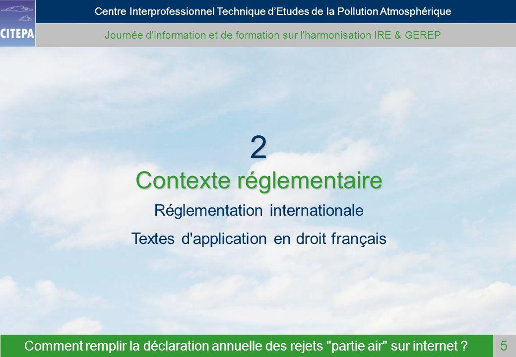 2 Contexte réglementaire Réglementation internationale