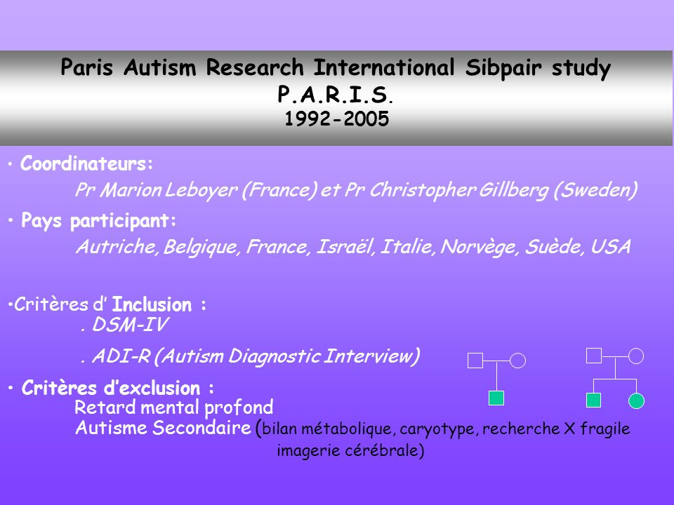 Paris Autism Research International Sibpair study