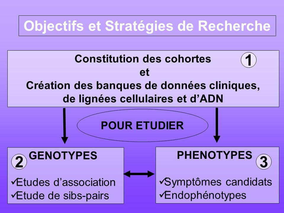 1 2 3 Objectifs et Stratégies de Recherche Constitution des cohortes