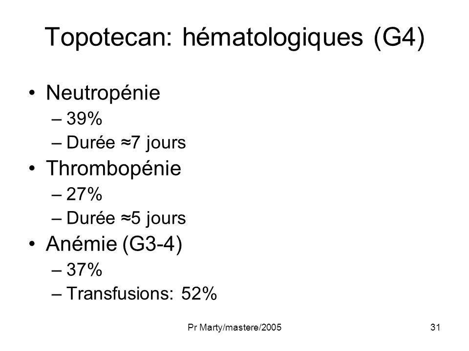 Topotecan: hématologiques (G4)
