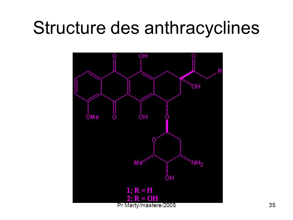 Structure des anthracyclines