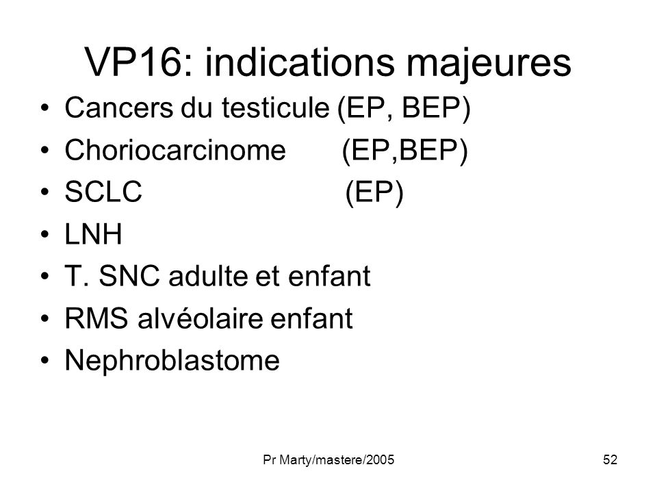 VP16: indications majeures